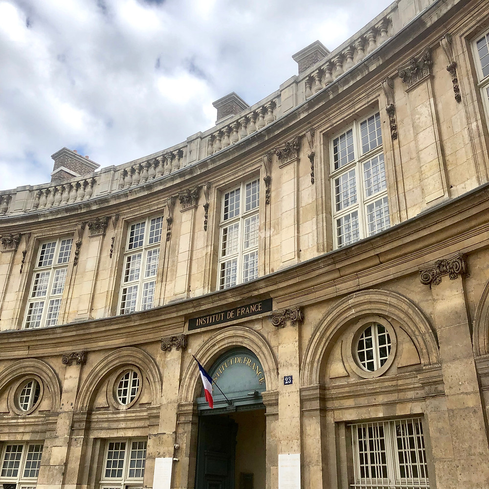 Entry door to the courtyard of the Institute of France - pathway to The Mazarin Public Library