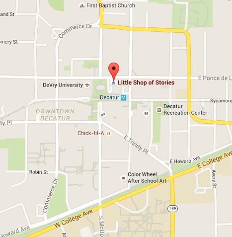 Little Shop of Stories | 133 E Court Square # A, Decatur, GA 30030 | Hours: Mon.-Thur. 10AM-8PM, Fri. & Sat. 10AM-9PM | 404-373-6300