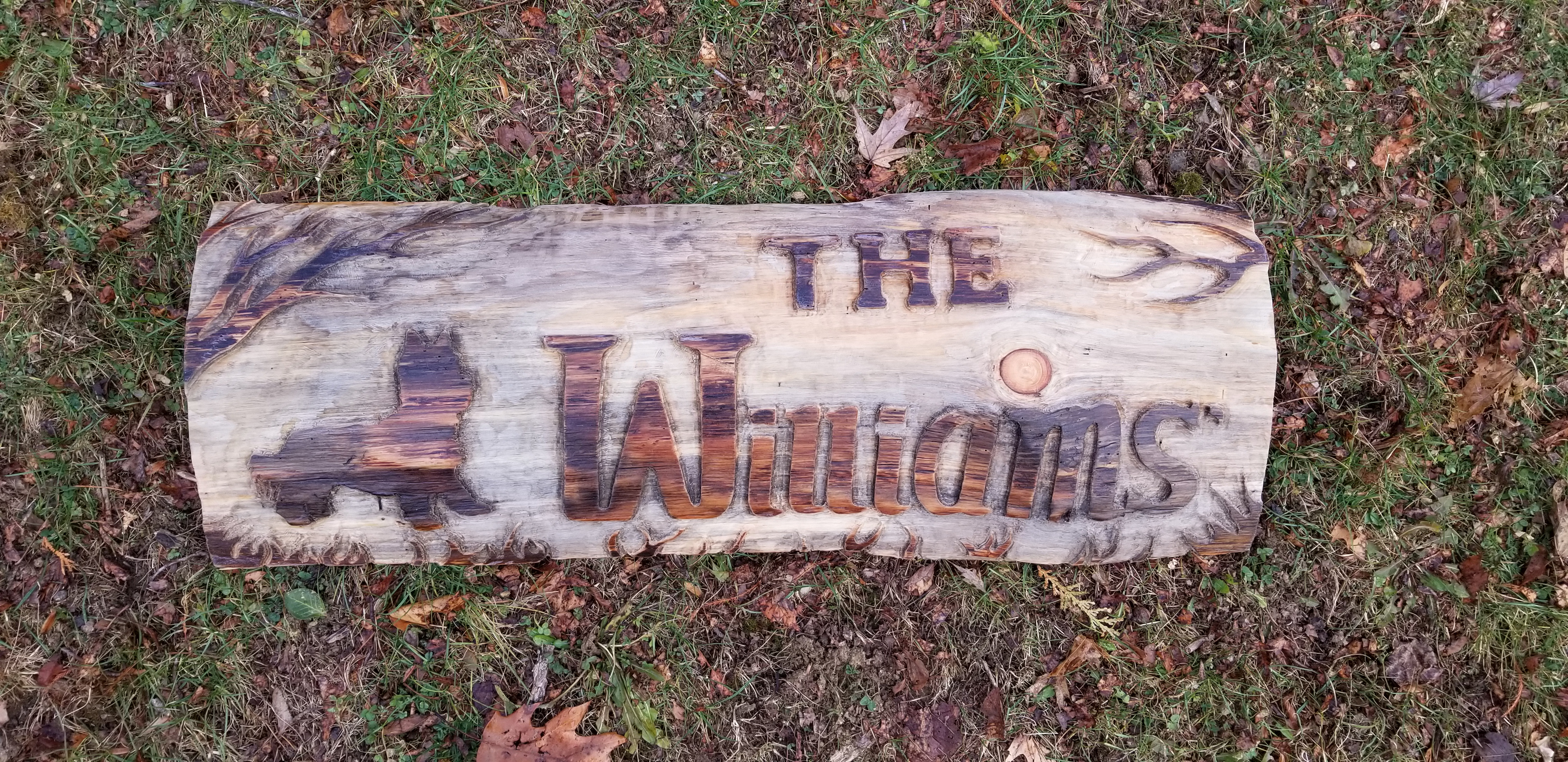 (Sold) Custom Hand Carved Wood Family Name Sign