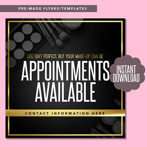 MUA Appointments Available (Gold and Black)