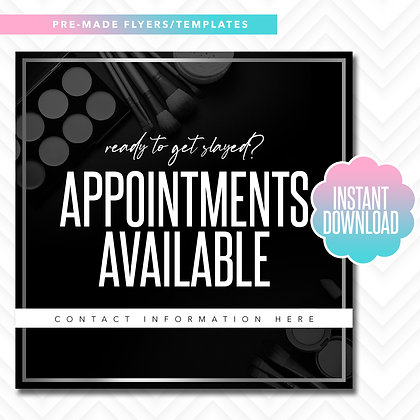 MUA Appointments Available (Black and White)