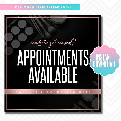 MUA Appointments Available (Rose Gold and Black)