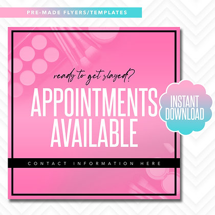 MUA Appointments Available (Pink and Black)