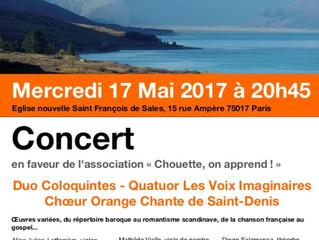 17 MAI à 20h45 : CONCERT EN FAVEUR DE CHOUETTE ON APPREND !