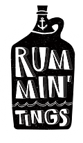 Rummin'Tings Bottle Logo white blur back