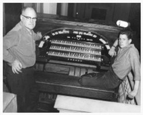 Allan H. Day and his father, Allan Howard Day restoring the Harold Beach organ at the main auditorium of the Masonic Temple in Elizabeth, NJ, 1964