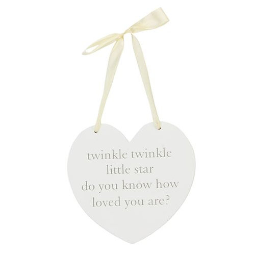 Twinkle Twinkle Hanging Heart Plaque
