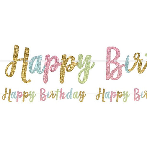 'Happy Birthday' Glitter Letter Banner