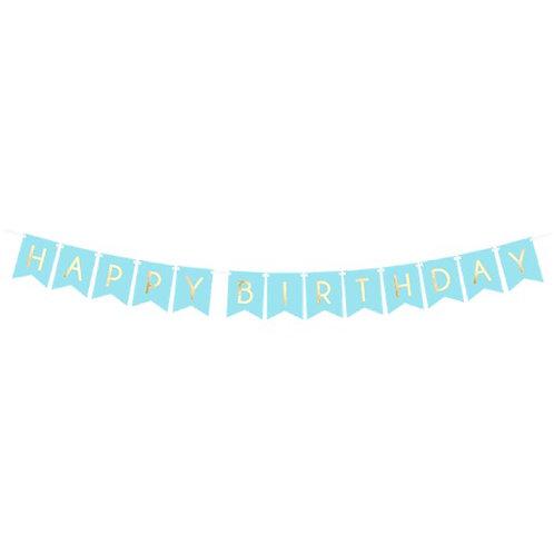 Pastel Blue & Gold Happy Birthday Banner