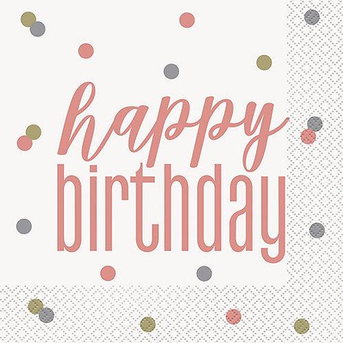 Happy Birthday Glitz Rose Gold Paper Napkins
