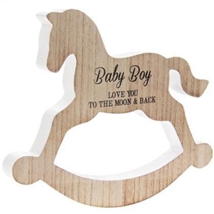 Rocking Horse Plaque - Baby Boy