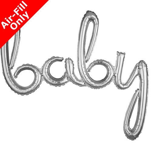 Baby Script - 39inch Silver Foil Balloon
