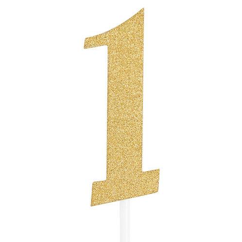 Gold Glitter Number 1 Cake Topper