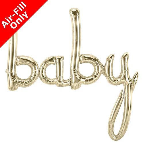 Baby Script - 46inch White Gold Foil Balloon