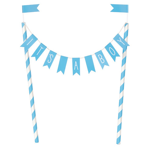 'IT'S A BOY' Blue Bunting Cake Topper