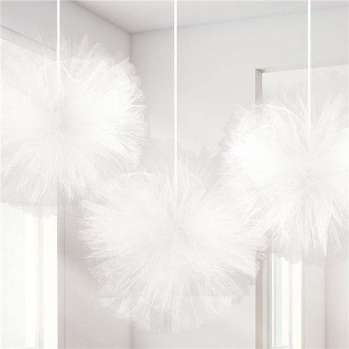 Fluffy White Tulle Pom Poms