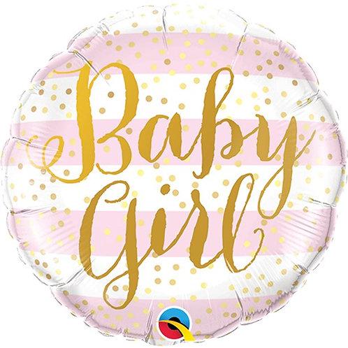 Baby Girl Foil Balloon - Pink Strips