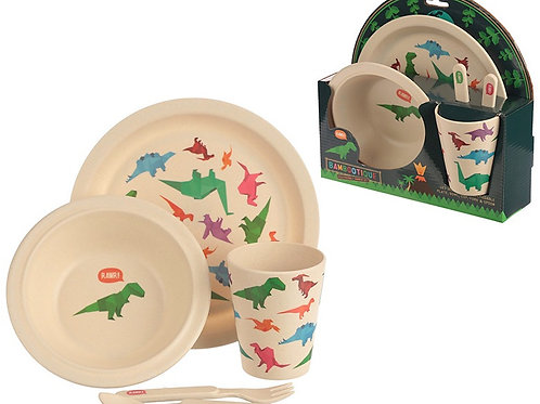 Friendly Dinosaur Bamboo Dinner Set