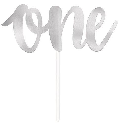 Silver Foil 'One' Cake Topper