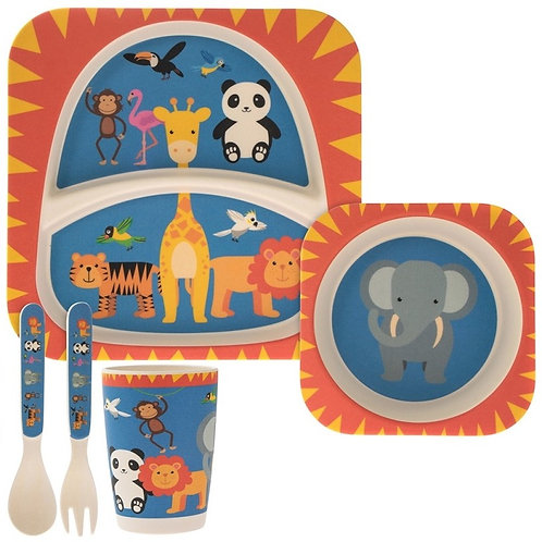Zoo Life Eco Friendly Bamboo Dinner Set