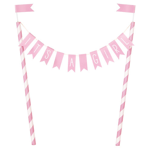 'IT'S A GIRL' Pink Bunting Cake Topper