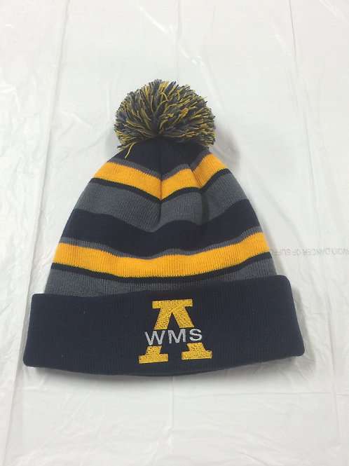 Navy-Grey-Gold Holloway Pom Pom Hat
