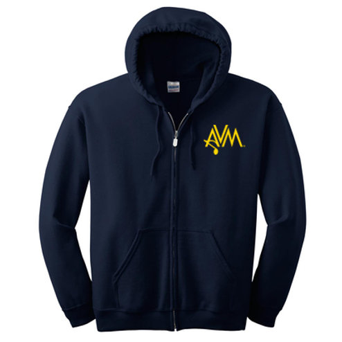 Navy Full Zip Hoody AVM