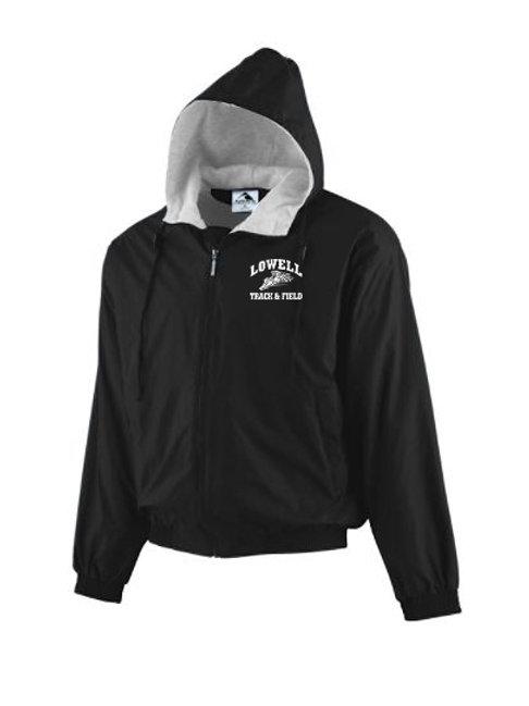 Black Augusta Hooded Fleece Lined Jacket Lowell Track