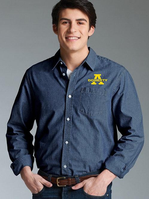 Men's Denim Straight Collar Chambray Shirt