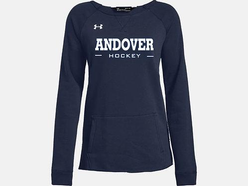 Navy UA Hustle Fleece Crew PA Hockey
