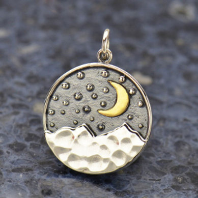 """3158 BRASS MOON OVER MOUNTAIN NECKLACE (SPECIFY 16 OR 18"""" CHAIN)"""