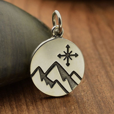 """6088 ETCHED MOUNTAIN COMPASS NECKLACE ( PLEASE SPECIFY 16 OR 18"""" CHAIN)"""