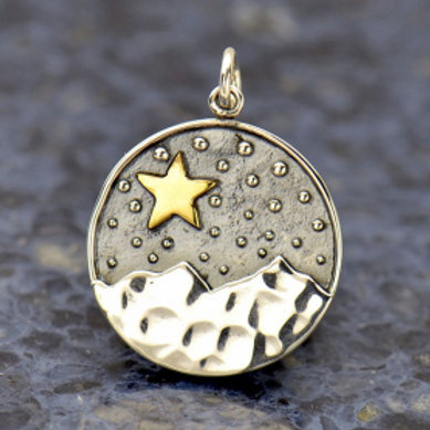 """3157 MOUNTAIN & STAR NECKLACE ( PLEASE SPECIFY 16 OR 18"""" CHAIN)"""