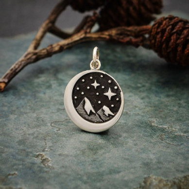 """4140. MOON WITH MOUNTAINS 7 STARS(SPECIFY 16"""" OR 18"""" CHAIN)"""