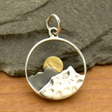"""3115 CUT OUT MOUNTAINS WITH BRASS SUN (PLEASE SPECIFY 16 OR 18"""" CHAIN)"""