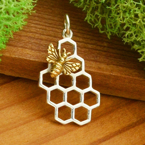 """6012 HONEY COMB WITH BEE NECKLACE (PLEASE SPECIFY 16 OR 18"""" CHAIN)"""