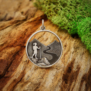 """4145. GIRL HIKING ACROSS THE FELLS (SPECIFY 16"""" OR 18"""" CHAIN)"""