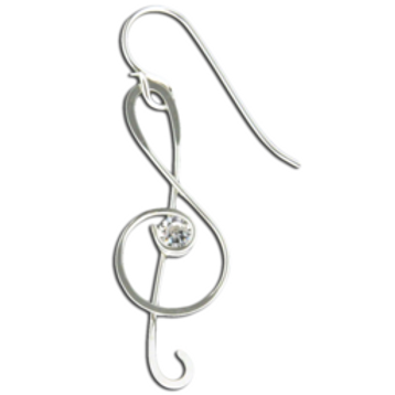 F18SS TREBLE CLEF WITH CZ STONE , STERLING SILVER
