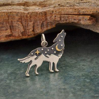 6236. SILVER WOLF. MOUNTAIN RANGE, BLACKENED SKY WITH MOON & STARS