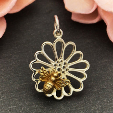 """6145 HONEYCOMB WITH BEE NECKLACE ( PLEASE SPECIFY 16 OR 18"""" CHAIN)"""