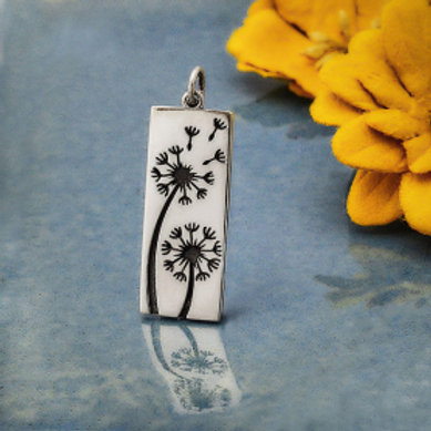 """4160. BLACKENED DANDELION SILVER NECKLACE (SPECIFY 16"""" OR 18"""" CHAIN)"""