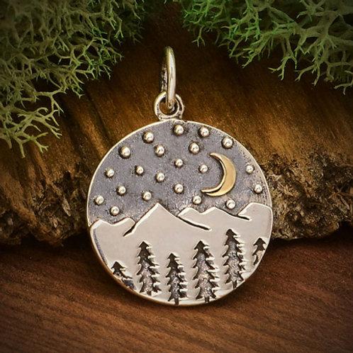 Moon and Mountain scene Pendant