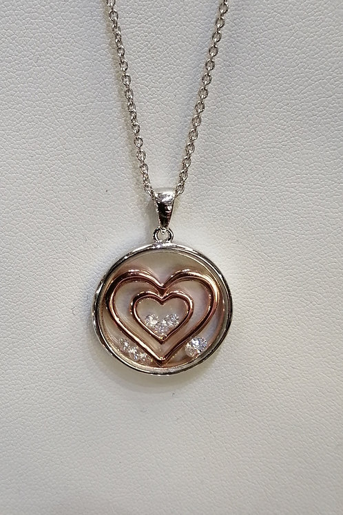 P4695C ASTRA 20mm DOUBLE HEART WITH ROSE GOLD INLAY. NECKLACE