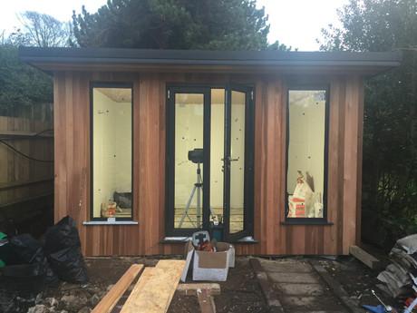Exterior view of garden cabin.