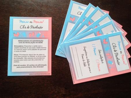 Menino ou Menina? Dê seu palpite com nossos novos cartões para chá de revelação!