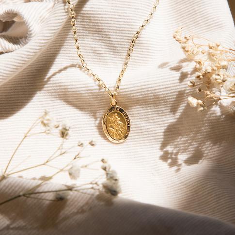 Pendant, Gold, Necklace, Flowers, Beige,