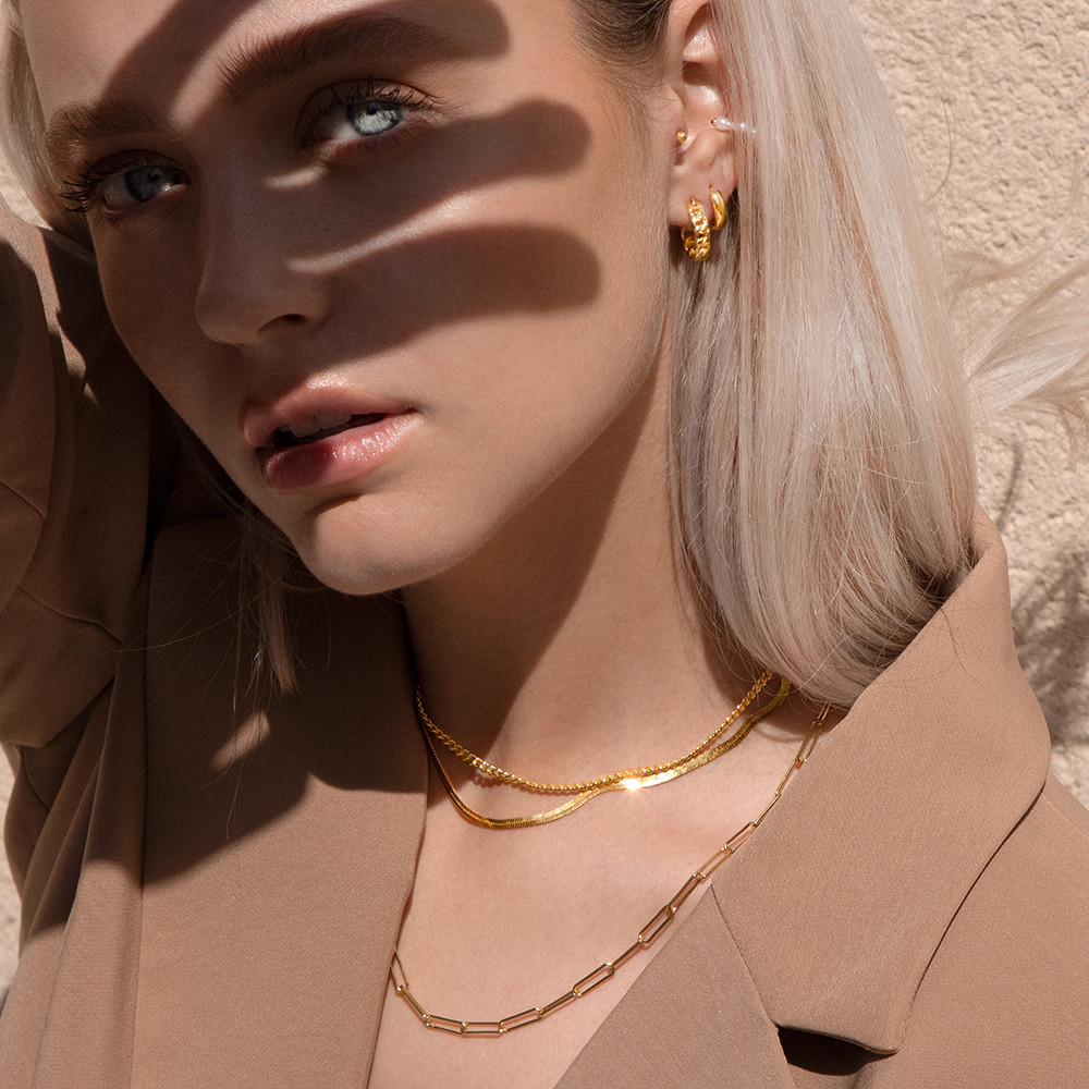 Layered Gold Necklaces, Jewellery Photog