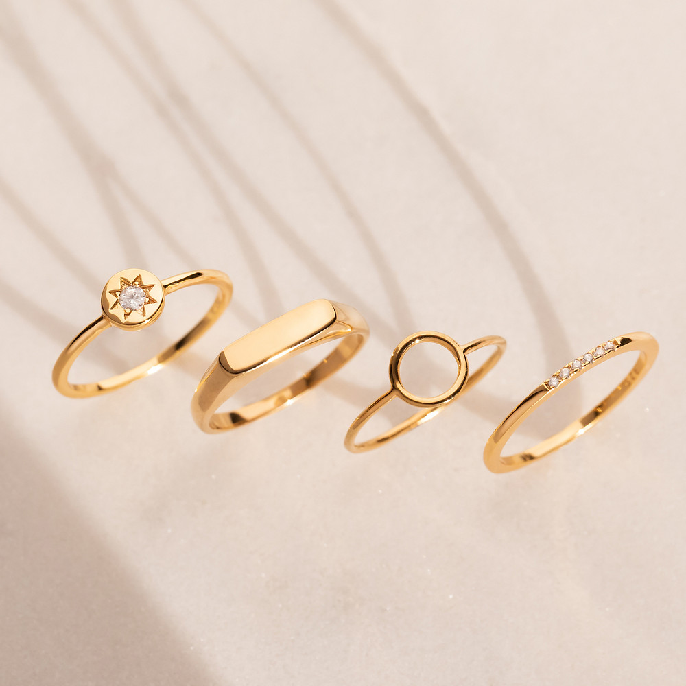 Rings, Gold Rings, Gold Ring Stack, Natural Light Photography, Jewellery Photography, Jewellery Photographer, Chocianaite, Jewellery Photographer UK