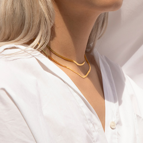 Two Gold Necklaces On A Model, Professio