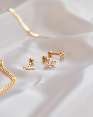 Gold Jewellery On White Silk, Earrings A